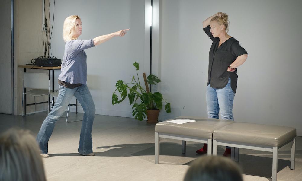 Actie tijdens workshop regie & communicatie