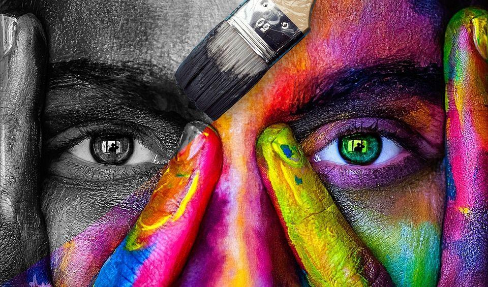 creativiteit, gezicht met kleuren